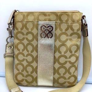 COACH JULIA OPT ART SWINGPACK BAG GOLD/TAN #43798